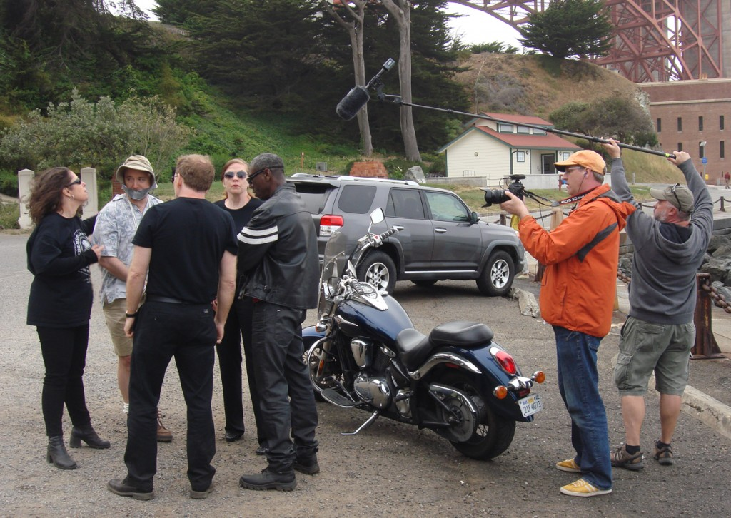 "Jeff Baker on camera, John Teixeira on sound, on location in San Francisco for ""The Grab"""